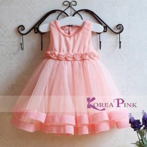 DRESS ANAK KOREA PINK FLOWERS