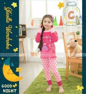 harga baju tidur anak perempuan / piyama anak cewe pink polka brand GW Tokopedia.com