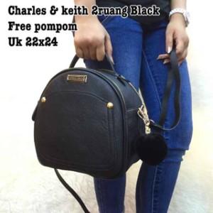 TAS CHARLES AND KEITH CK - 2 RUANG - FREE POMPOM - SEMI PREMIUM