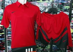 Kaos Kerah Polo Setelan Nike T90 Merah Baju+Celana Murah Futsal Bola
