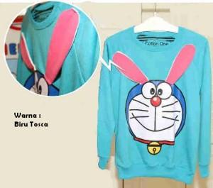 Sweater Doraemon Blue Tosca Rabbit Ear