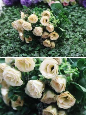 bunga artificial rose ros bunga plastik ross krem cream shabby chic