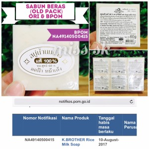 [ BPOM ] Sabun Beras Old pack BPOM (kemasan plastik) original