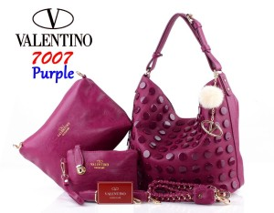Tas Import Valentino Hobo Roundstud 7007 Set 3in1 SemPrem Ungu Purple