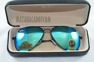 Kacamata 3026 Sunglasses Unisex Rayban Diamond Biru List Hitam