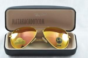 PAHE Kacamata 3026 Sunglasses Unisex Rayban Diamond Orange List Gold