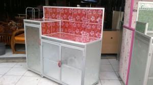 Meja Dapur Meja Kompor 3 Pintu + Rak Piring Model L Keramik Aluminium