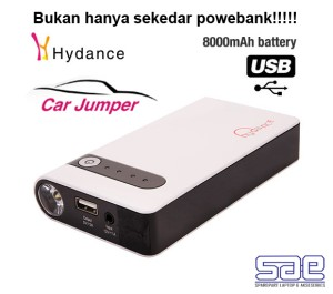 Power Bank Hydance 8000mAh + Jumper Aki Mobil + Senter (SAE)