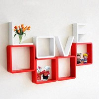Rak Dinding Kayu Love Square Shelf Hiasan