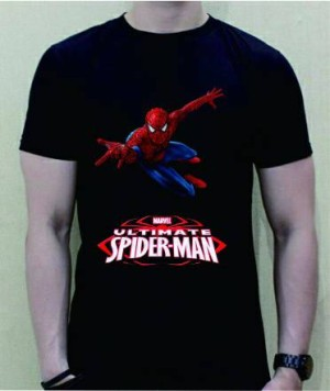 baju kaos t-shirt spiderman 1 warna hitam