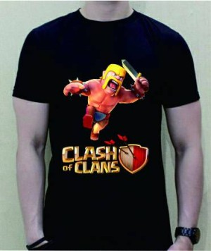 baju kaos t-shirt clash of clans coc 1 warna hitam