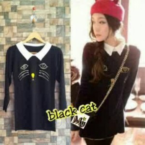 Blouse black cat