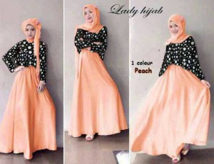 set polka peach hijab