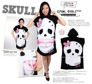 READY STOCK Unique Skull Zip Hoodie T-Shirt
