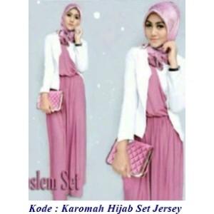 Jual Karomah Hijab Full Set Baju Gamis Murah Bahan Jersey