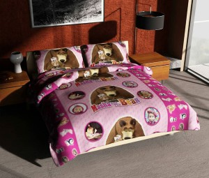 Sprei Single Murah 120×200 Masha and Berar Pink Merk Felis