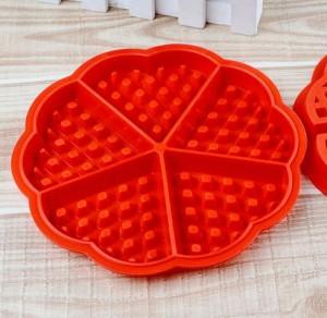 Cetakan Silikon Berbentuk Waffle / Pancake Bulat Hati (5 Kotak)