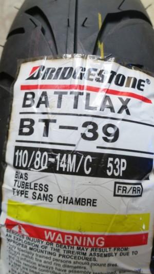 Ban Depan/Belakang Bridgestone Battlax 110/80-14 BT39 Racing Tubeless