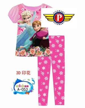 baju tidur anak perempuan frozen pink size besar