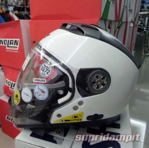 Jual Helm Nolan N44 Classic Metal white, helm multy model not arai