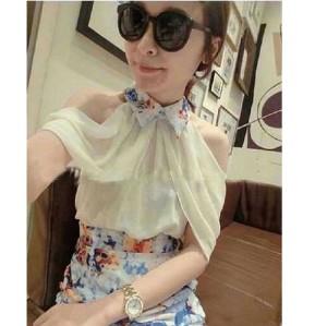 baju neck dress korea chiffon floral pesta import