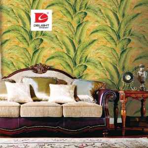 Delight Wallpaper 631101 Emboss Daun Pisang Ruang Tamu Office
