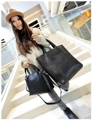 tas set 2 in 1 pcs murah hitam tote bag hand bag hobo formal kerja pu