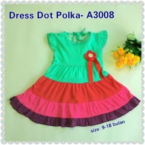 Baju Bayi Murah / Pakaian Anak Dress Dot Polka - A3008 Hijau Tosca