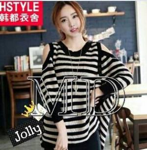 blouse stripe rajut