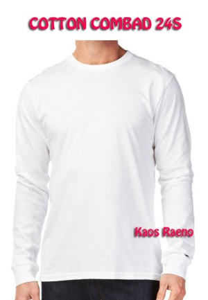 Jual Tshirt Kaos Polos Model Neck Unisex Lengan Panjang Putih