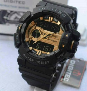 jam tangan Digitec 2080 Hitam list Gold Original