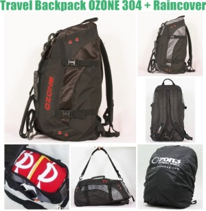 Ransel Travel Multifungsi OZONE 304 + Raincover [HITAM] Bandung