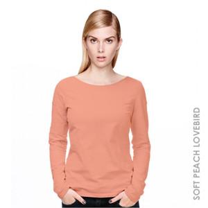 Kaos Wanita Lengan Panjang Women Long Sleeve (Soft Peach Lovebird)