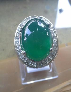batu hijau botol garut ring perak