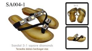 Sandal 3-1 square diamonds Black SA004-1
