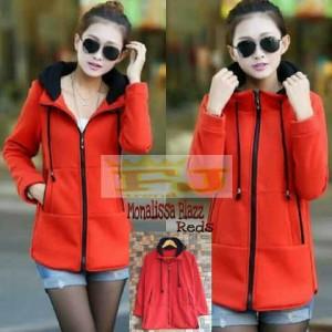 harga jaket jacket fleece bulu sweater blazer harajuku korea monalissa red Tokopedia.com