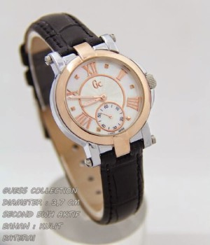 Jam Tangan Wanita Gc Demoiselle Kulit Hitam Ring Rose Gold Chrono 3cm .