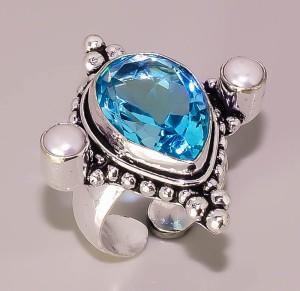 #9. Not Bacan - Cincin Natural BLUE TOPAZ PEARL silver 925 size 6 ADJ.