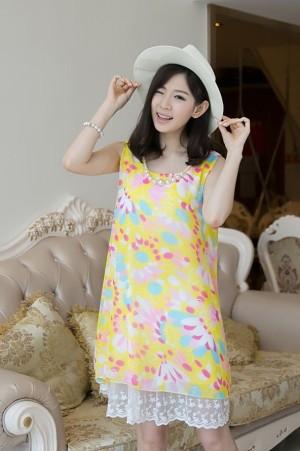 cute yellow dress import chiffon lace (baju pakaian impor sifon lace)