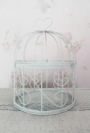 sangkar burung putih birdcage bird cage putih shabby chic 10x17cm