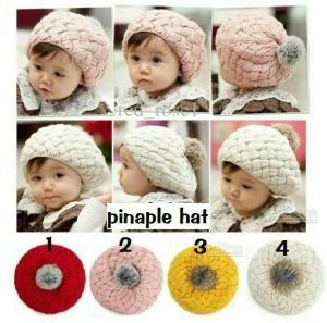 harga topi nanas bayi/pineapple hat untuk bayi 6 bln-4 thn bahan wol elastis Tokopedia.com