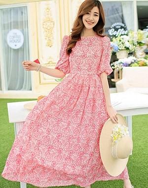 Long Dress pink chiffon silk gaun panjang wanita merah muda importBaju