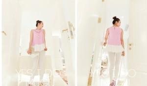Chiffon purple blouse tank top atasan baju pakaian wanita ungu import
