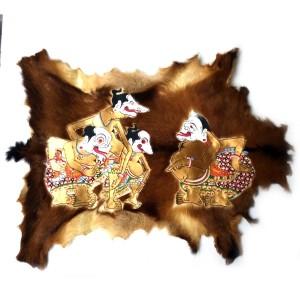 Lukisan Wayang Punokawan Kulit Kambing Full Body 77x55cm