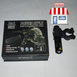 Braket Senter Lampu Senter Sepeda + Senter Police High Light Torch