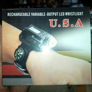 jam tangan + senter batu cincin led ( Rechargerable ) terang 5 mode