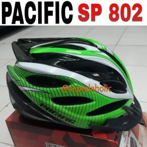 Helm Sepeda PACIFIC (model SP 802) dewasa putih hijau