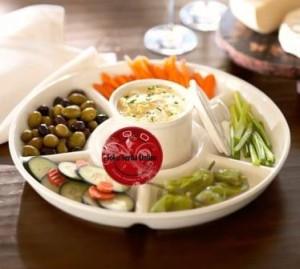 Chip and Dip Plate / Serving Divided Dish / Mangkok Piring Saji Sekat