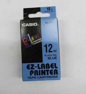 EZ-Label Printer Casio 12mm Black Ink Blue XR-12BU1