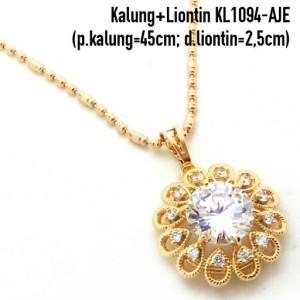 KL1094-AJE Kalung+Liontin Mata Putih Perhiasan Lapis Emas